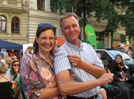 Justizministerin Angela Kolb und Burkhard Lischka, MdB, auf dem CSD